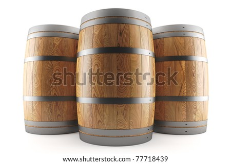 3d render of a group of three wine barrels - stock photo