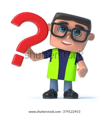 3d render of a health and safety worker holding question mark symbol. - stock photo