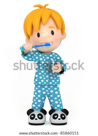3D Render of a kid brushing his teeth - stock photo