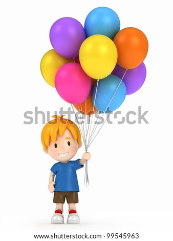 3d render of a kid holding balloons - stock photo