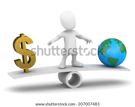 3d render of a little man balancing on a seesaw with a US Dollar sign and a globe of the Earth - stock photo