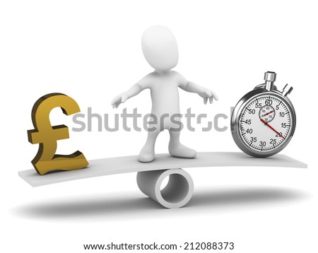 3d render of a little person on a seesaw balancing UK Pounds Sterling with a stopwatch - stock photo