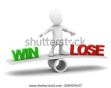 3d render of a little person on a seesaw with the words Win or Lose - stock photo