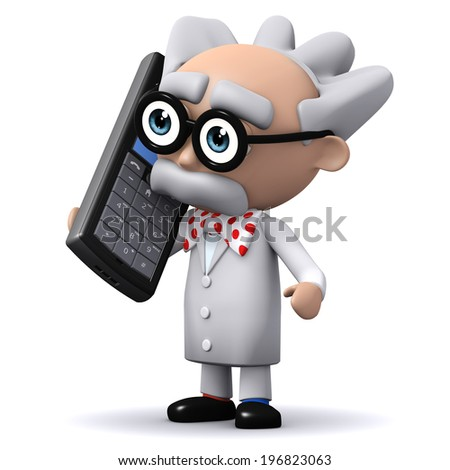 3d render of a mad scientist holding a mobile phone - stock photo