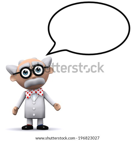 3d render of a mad scientist with a speech balloon - stock photo