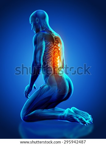 3D render of a male medical figure with spine highlighted in kneeling position - stock photo