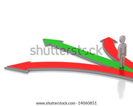 3D render of a man standing at the base of 3 arrows. Can be used for various conceptual business ideas. - stock photo