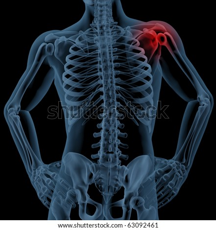 3D render of a medical skeleton with the shoulder joint highlighted - stock photo