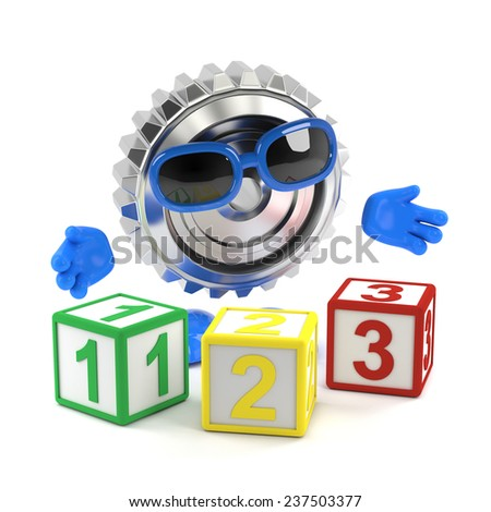 3d render of a metal cog character with number blocks - stock photo