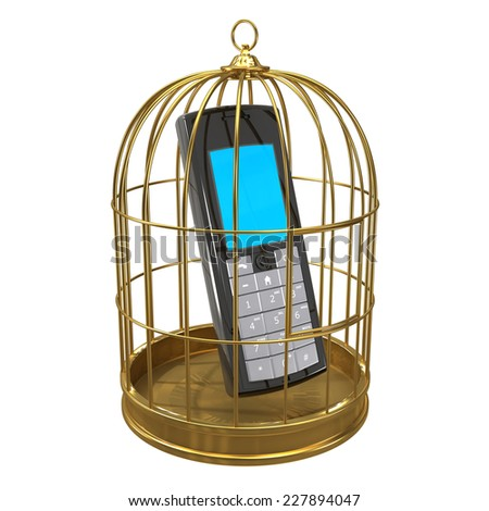3d render of a mobile phone in a bird cage. - stock photo