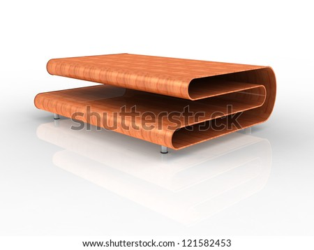 3d Render of a modern plywood table with white background - stock photo