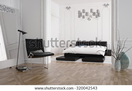 3d render of a modern spacious bedroom interior with a recessed bed in an alcove and white wood panelling on the walls with a hardwood parquet floor, lamp and chair. 3d rendering. - stock photo
