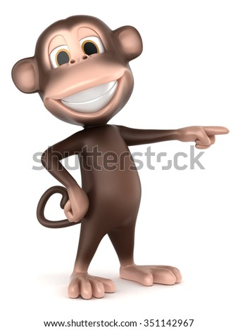 3d render of a monkey presenting or pointing right - stock photo