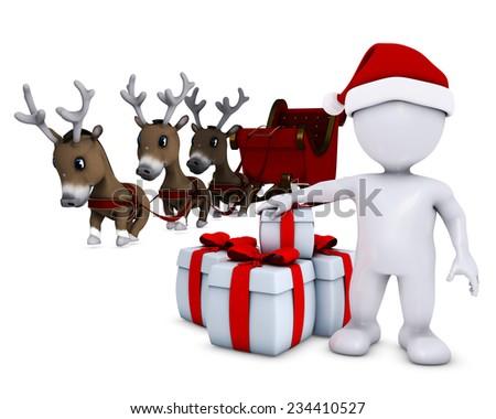 3d render of a morph man santa and reindeer - stock photo