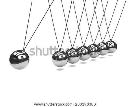 3d render of a Newtons Cradle in action - stock photo