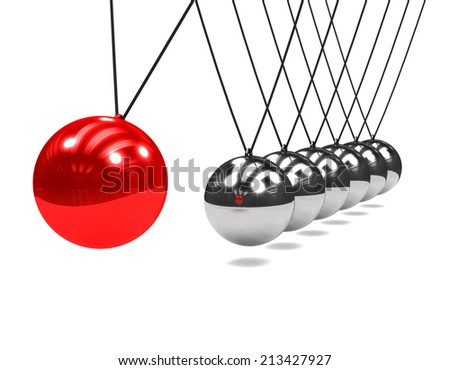 3d render of a Newtons Cradle with swinging red ball - stock photo