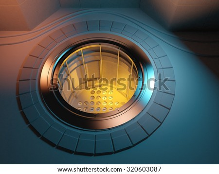 3d render of a nuclear reactor core in critical meltdown - stock photo