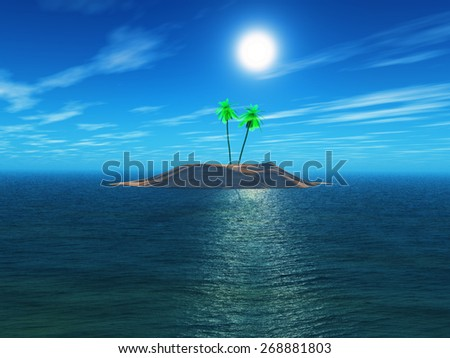 3D render of a palm tree island - stock photo