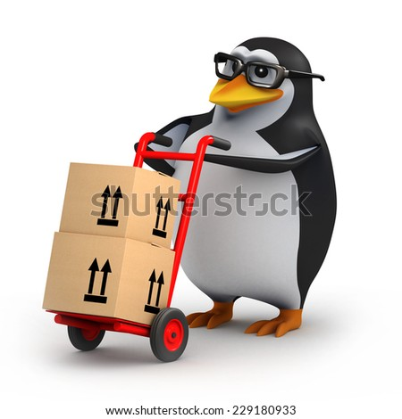3d render of a penguin delivering cardboard boxes on a cart. - stock photo