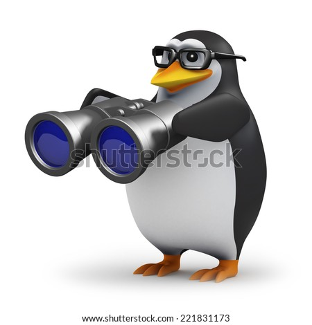 3d render of a penguin holding a pair of binoculars - stock photo