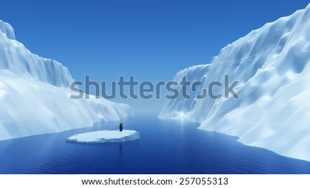 3D render of a penguin on a floating iceberg - stock photo