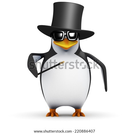 3d render of a penguin wearing a top hat and performing tricks - stock photo