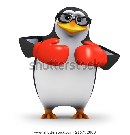 3d render of a penguin wearing boxing gloves - stock photo