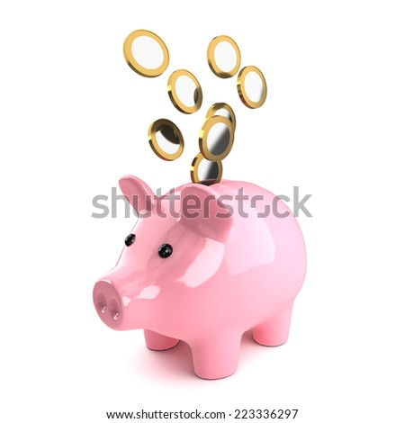3d render of a piggy bank with Euro coins tumbling in - stock photo