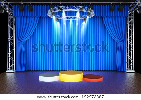 3d render of a podium consisting three cylinders with different heights made from bronze, silver and gold on Theater stage and blue curtains - stock photo