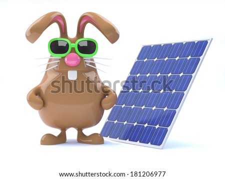 3d render of a rabbit with a solar panel - stock photo