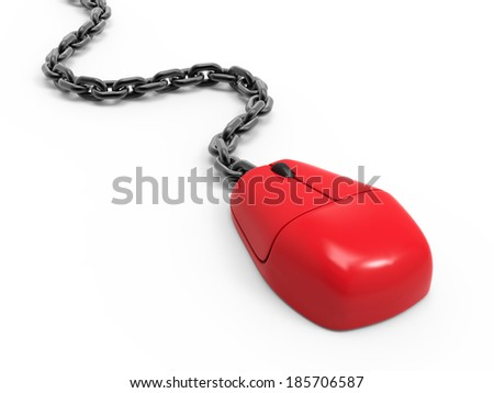 3d render of a red mouse with chain - stock photo
