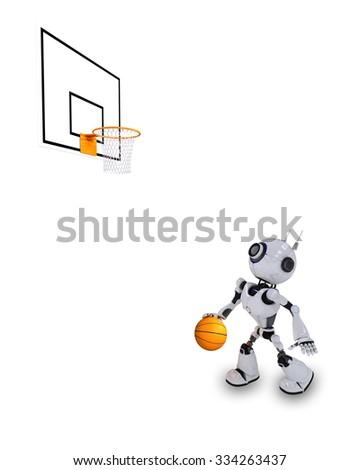 3D Render of a Robot Basketball player - stock photo