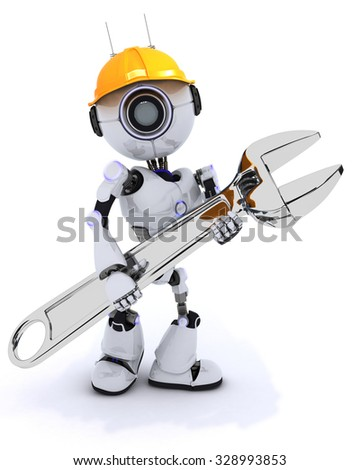 3D Render of a Robot Builder with a wrench - stock photo