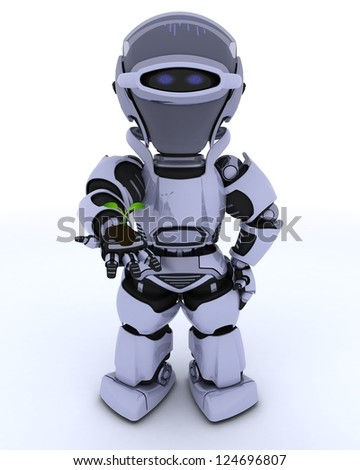 3D render of a Robot nurturing a  seedling plant - stock photo