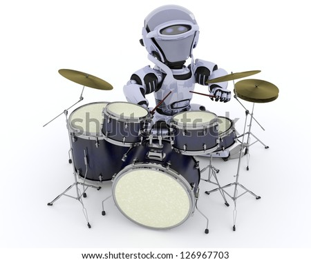 3D render of a Robot playing the drums - stock photo