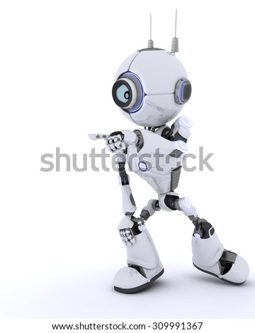 3D render of a Robot  pointing into space - stock photo