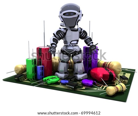 3D Render of a Robot With Capacitors Resistors and semi-conductors - stock photo