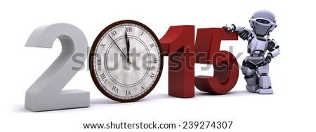 3D Render of a Robot with clock at new years - stock photo