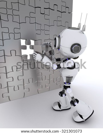 3D render of a Robot with jigsaw puzzle - stock photo