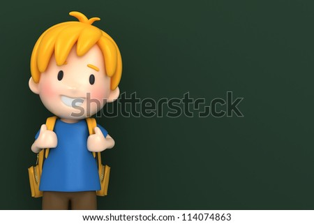 3d render of a school boy with chalk board background - stock photo