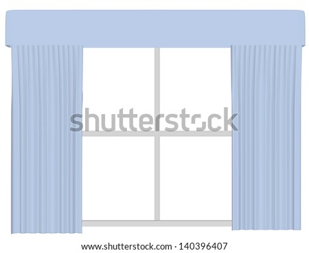 3d Render of a Set of Curtains on a Window - stock photo