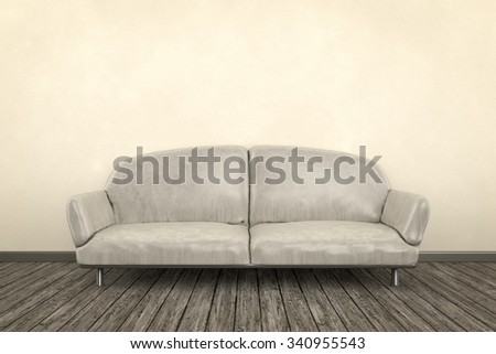 3d render of a shabby room with a sofa - stock photo