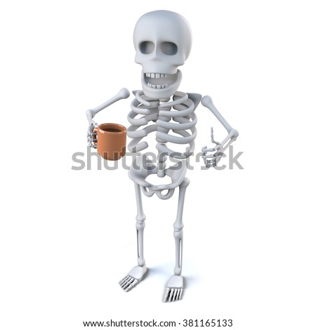 3d render of a skeleton holding a mug with his thumb up in an ok sign - stock photo
