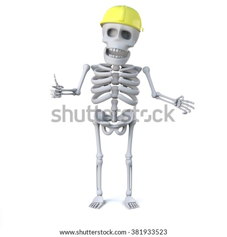 3d render of a skeleton wearing a hard hat and giving the thumbs up sign. - stock photo