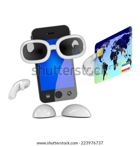 3d render of a smartphone holding a credit card - stock photo