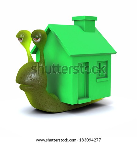 3d render of a snail with a green house instead of a shell - stock photo