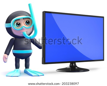 3d render of a snorkel diver next to a flatscreen lcd television monitor - stock photo