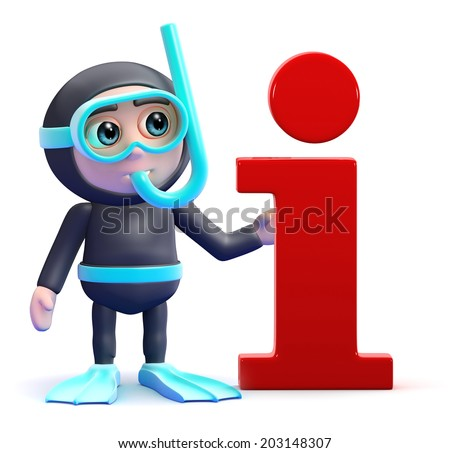 3d render of a snorkel diver next to an information symbol - stock photo