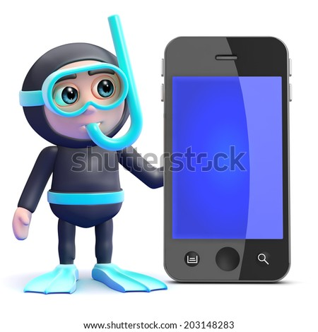 3d render of a snorkel diver with a smartphone - stock photo