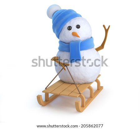3d render of a snowman on a sledge - stock photo